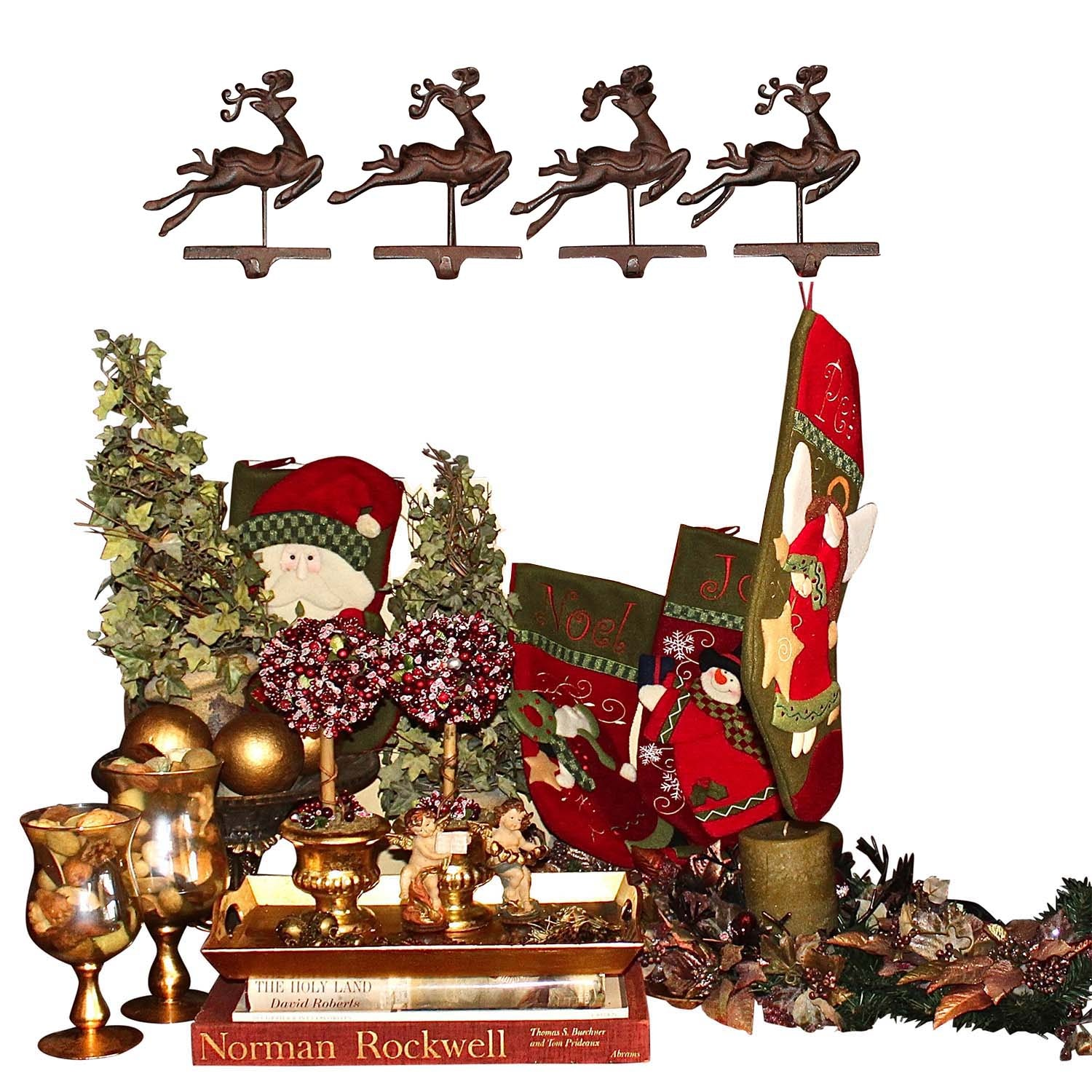 Large Assortment of Christmas Decor Including a Normal Rockwell Book