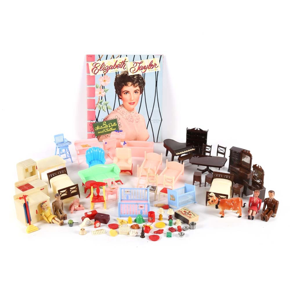 Vintage Elizabeth Taylor Paper Dolls and Doll House Accessories