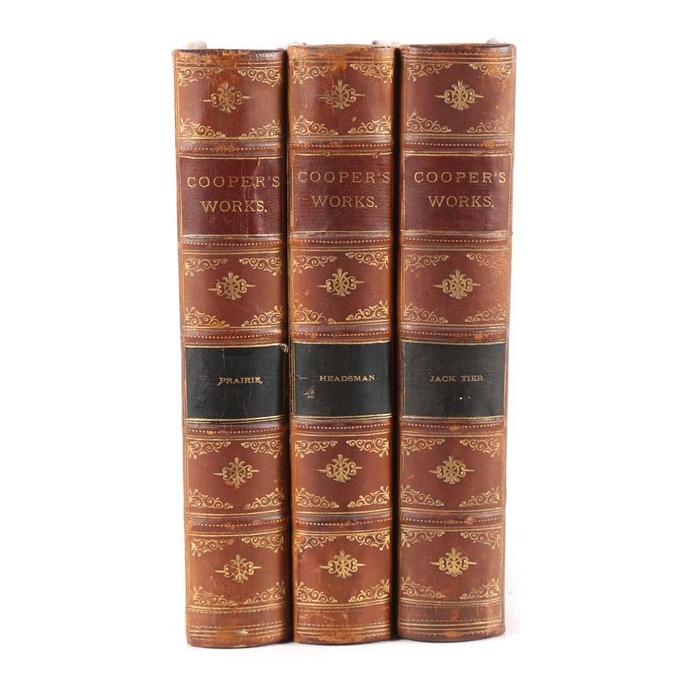 Antique J. Fenimore Cooper Books in Three-Volumes