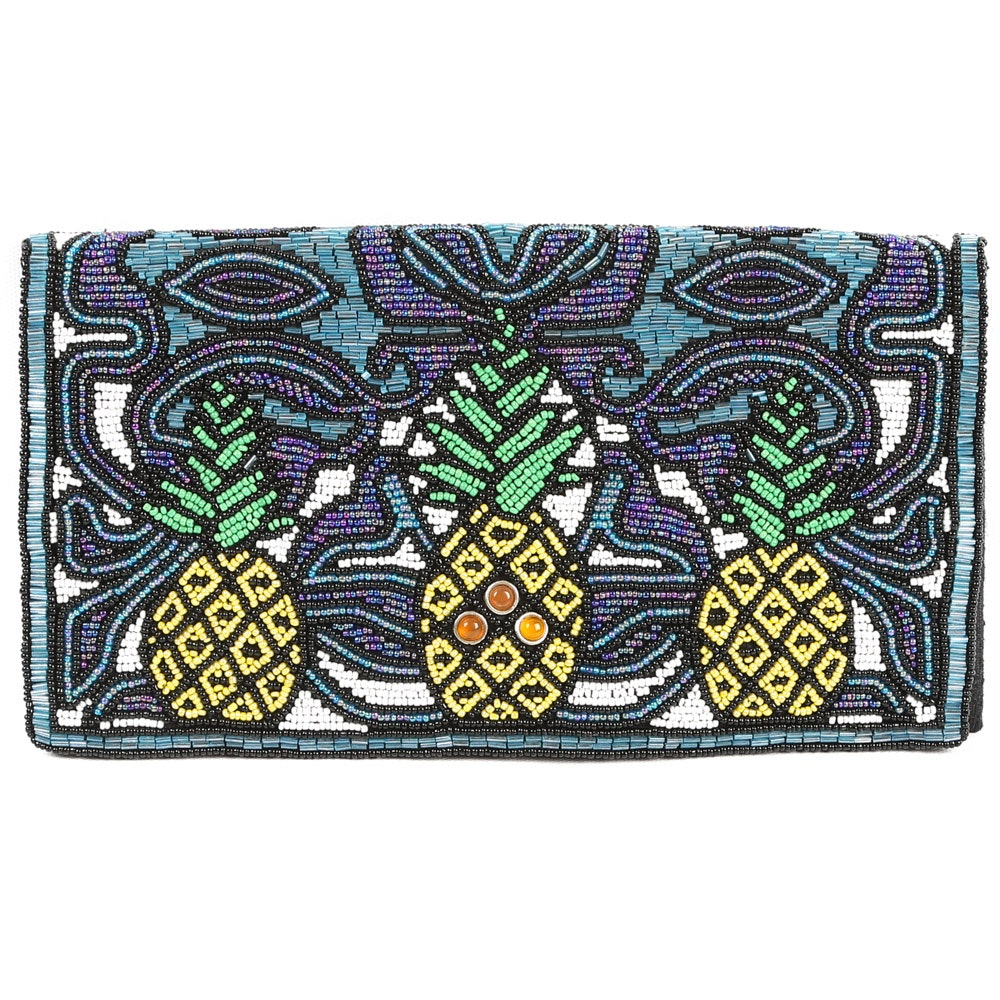 "Mary Frances ""Pina Colada"" Pineapple Beaded Clutch"