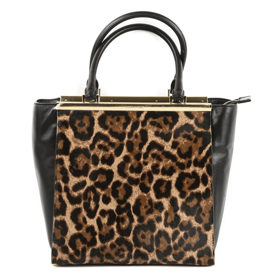 9a09bec9c80d MICHAEL Michael Kors Lana Leopard Print Calf Hair and Leather Large Tote Bag  : EBTH
