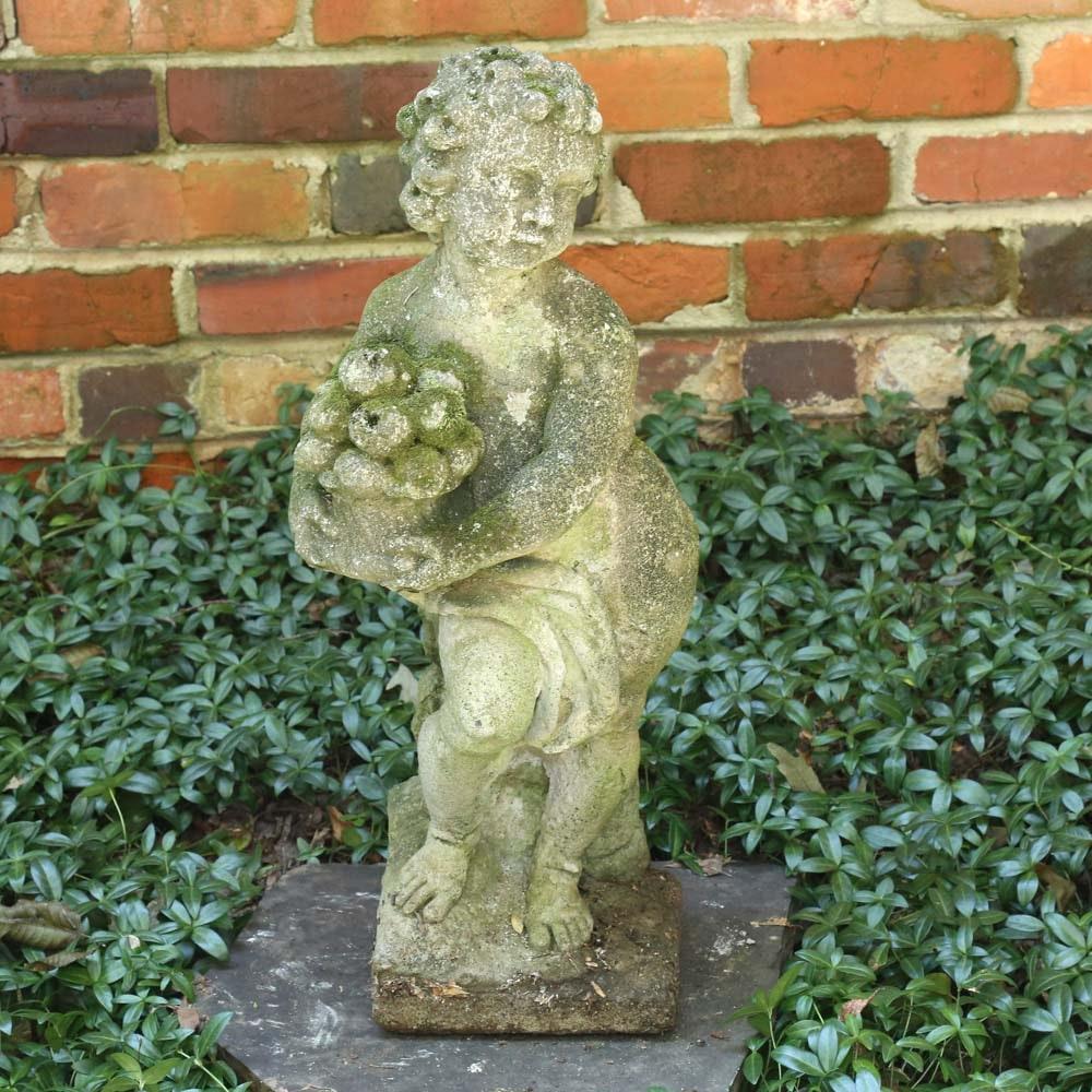 Concrete Cherub Lawn Statue