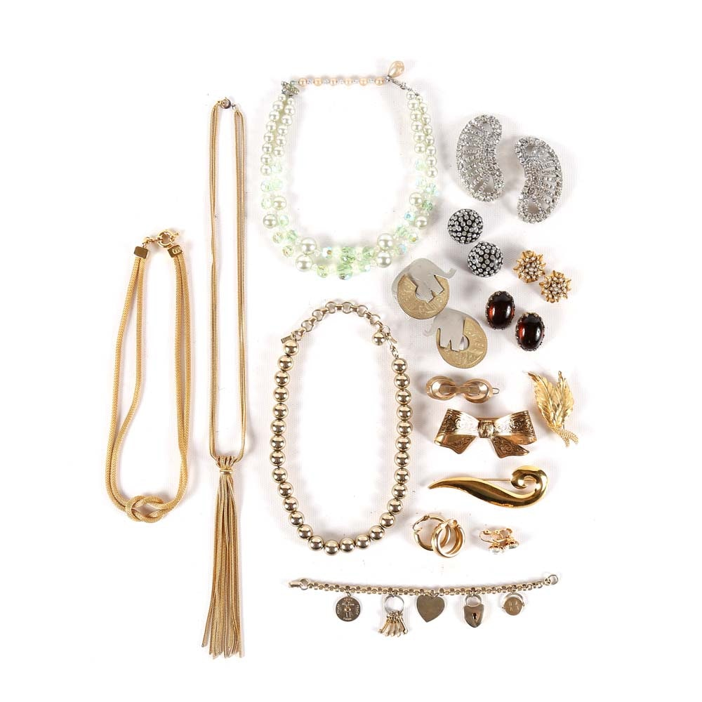 Assortment of Costume Jewelry Featuring Coro, Trifari, and Monet