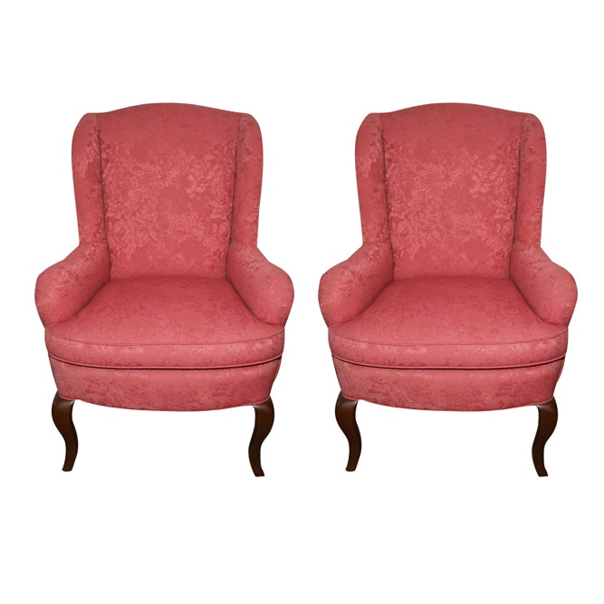 Queen Anne Style Pink Upholstered Wingback Armchairs by Brandywine Design