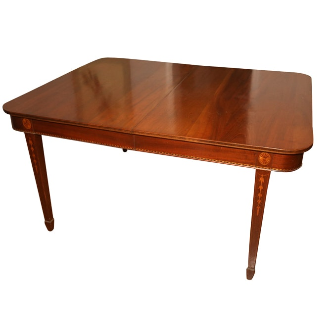 Vintage Hepplewhite Style Walnut Dining Table
