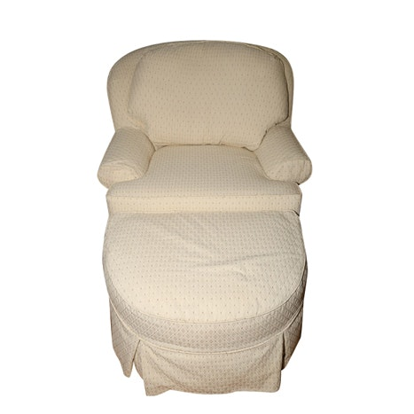 Upholstered Armchair with Ottoman
