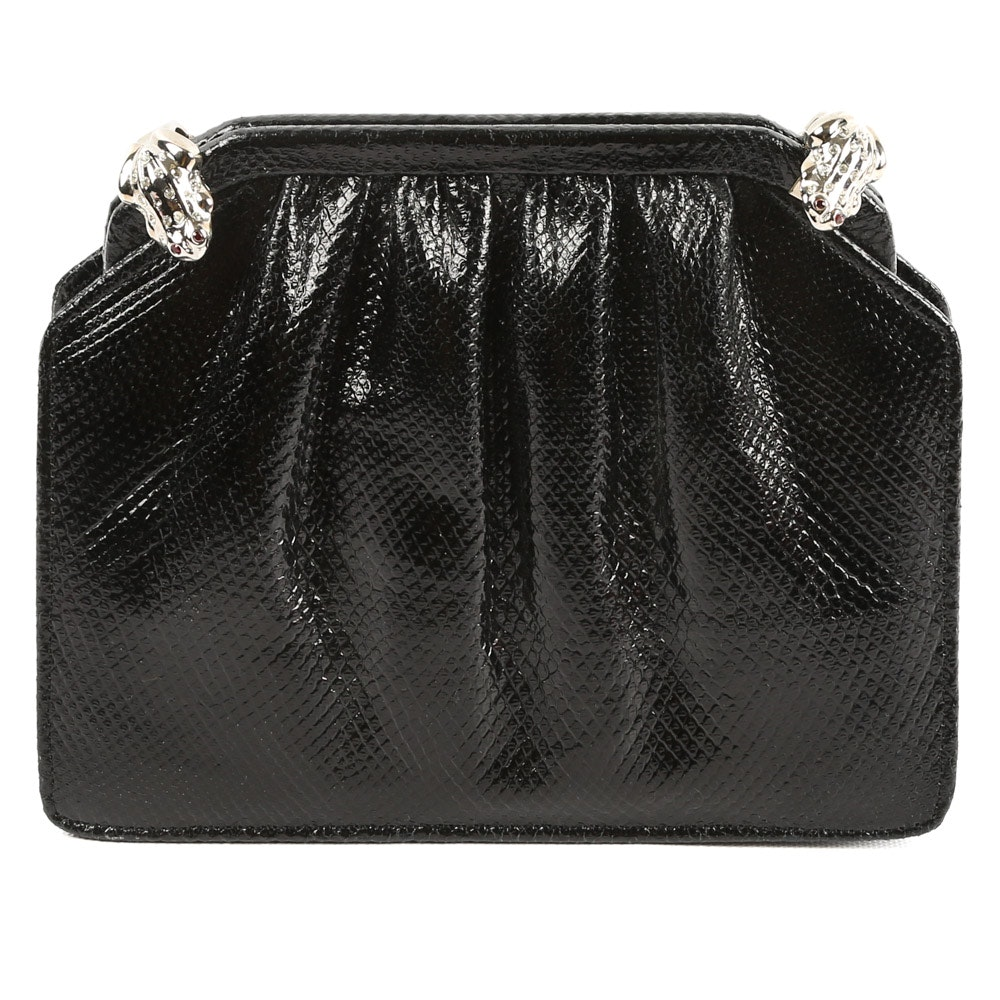 Ashneil Glossy Black Karung Leather Evening Bag Accented with Frogs