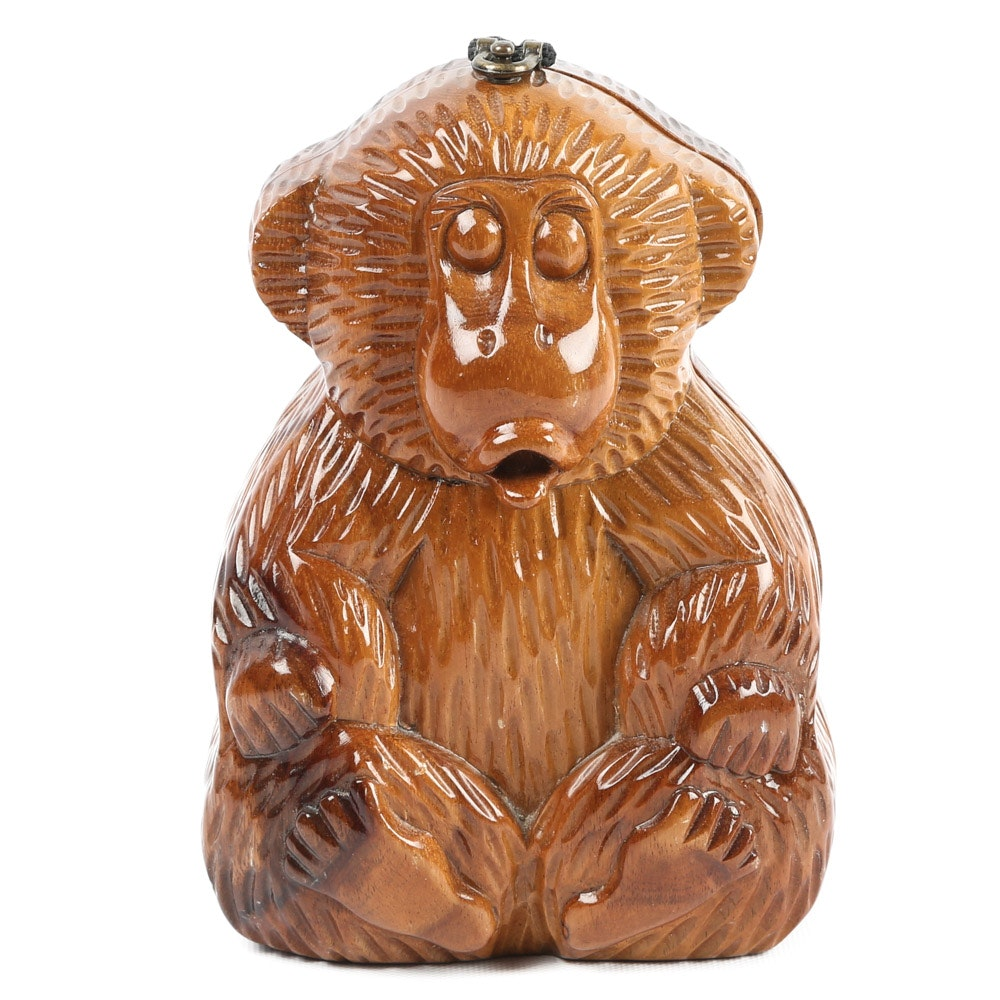Timmy Woods of Beverly Hills Hand Carved Wooden Monkey Handbag