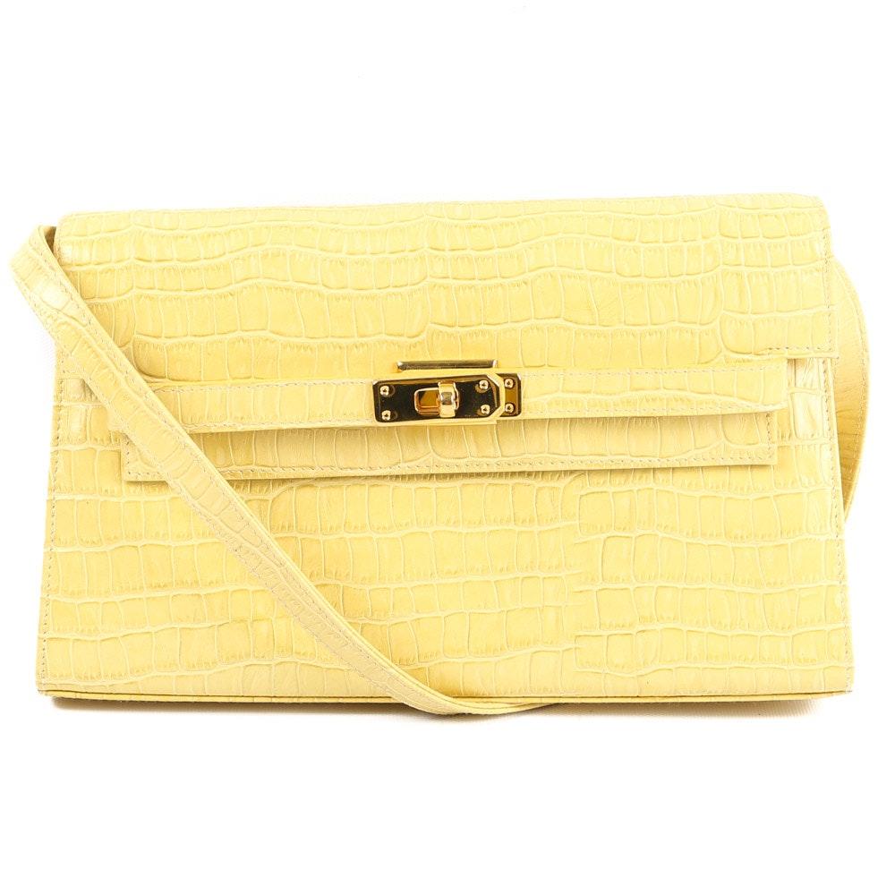 Ashneil Yellow Crocodile Embossed Leather Flap-Front Handbag