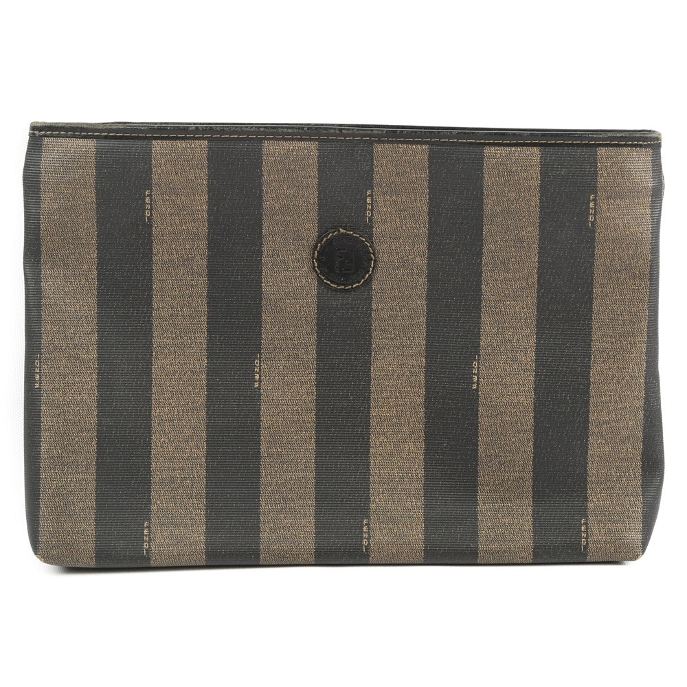 Fendi Pequin Stripe Coated Canvas and Leather Zippered Pouch