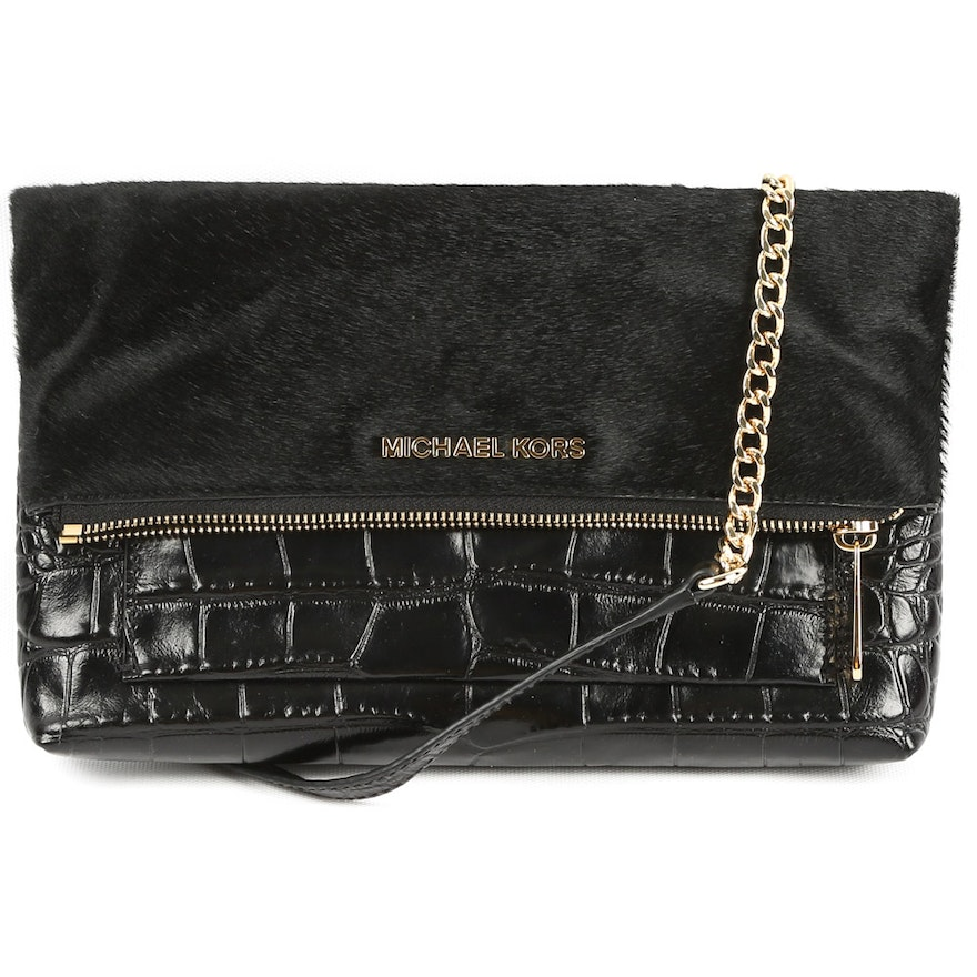 65237a19ab8d MICHAEL Michael Kors Black Pony Hair and Embossed Leather Foldover  Crossbody Bag : EBTH