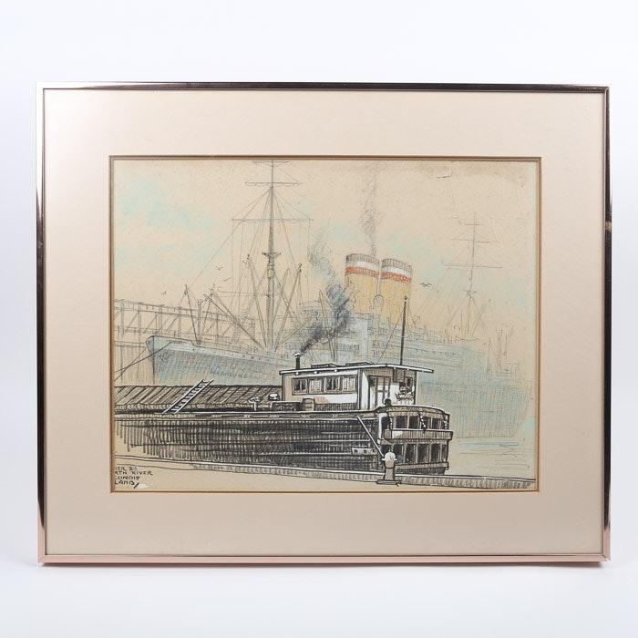"""Ella Condie Lamb Drawing """"Pier 84 North River"""""""