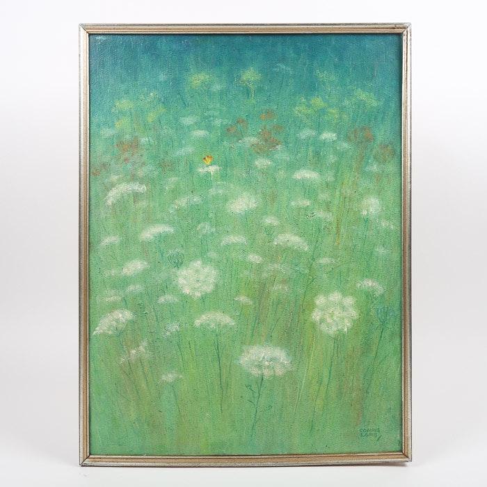 Ella Condie Lamb Oil Painting of Dandelion Field