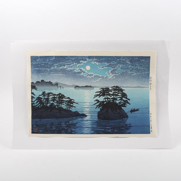"""Woodblock After Kawase Hasui """"Moonrise at Futago Island, Matsushima"""""""
