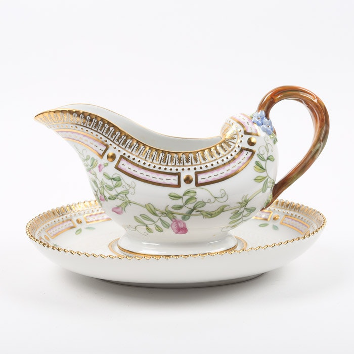 "Royal Copenhagen ""Flora Danica"" Gravy Boat and Underplate"