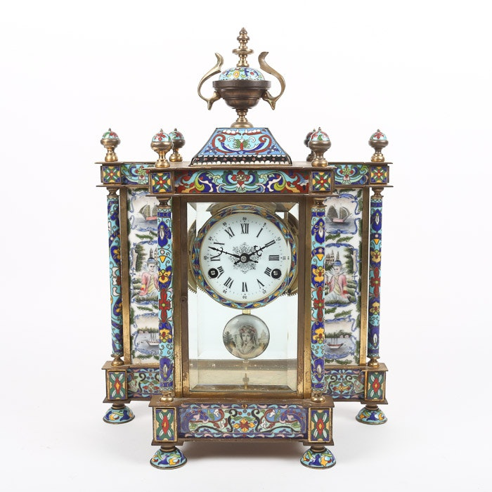 Chinese Cloisonné Empire Style Mantel Clock with Hand-Painted Porcelain Panels