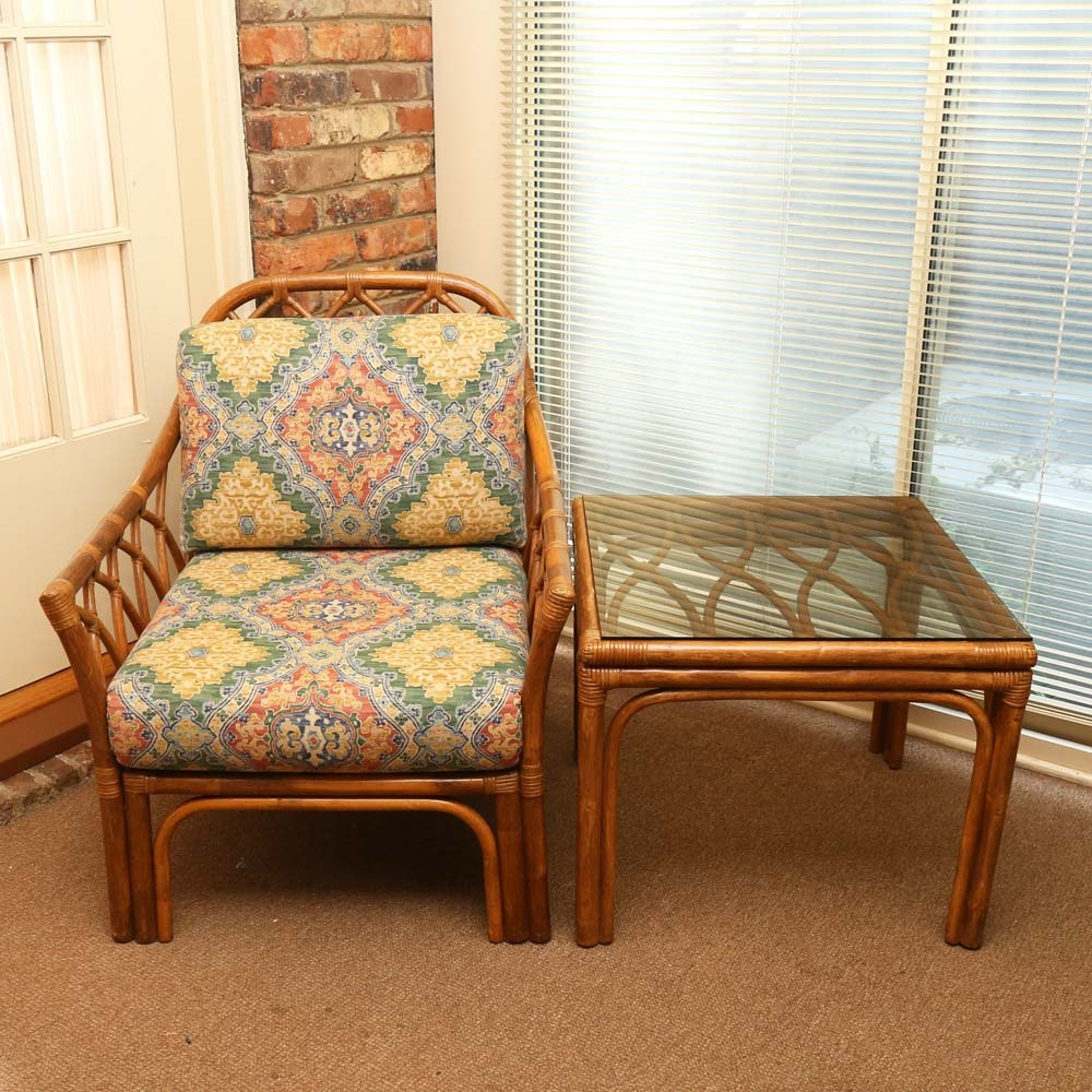 Vintage Rattan Chair and Side Table