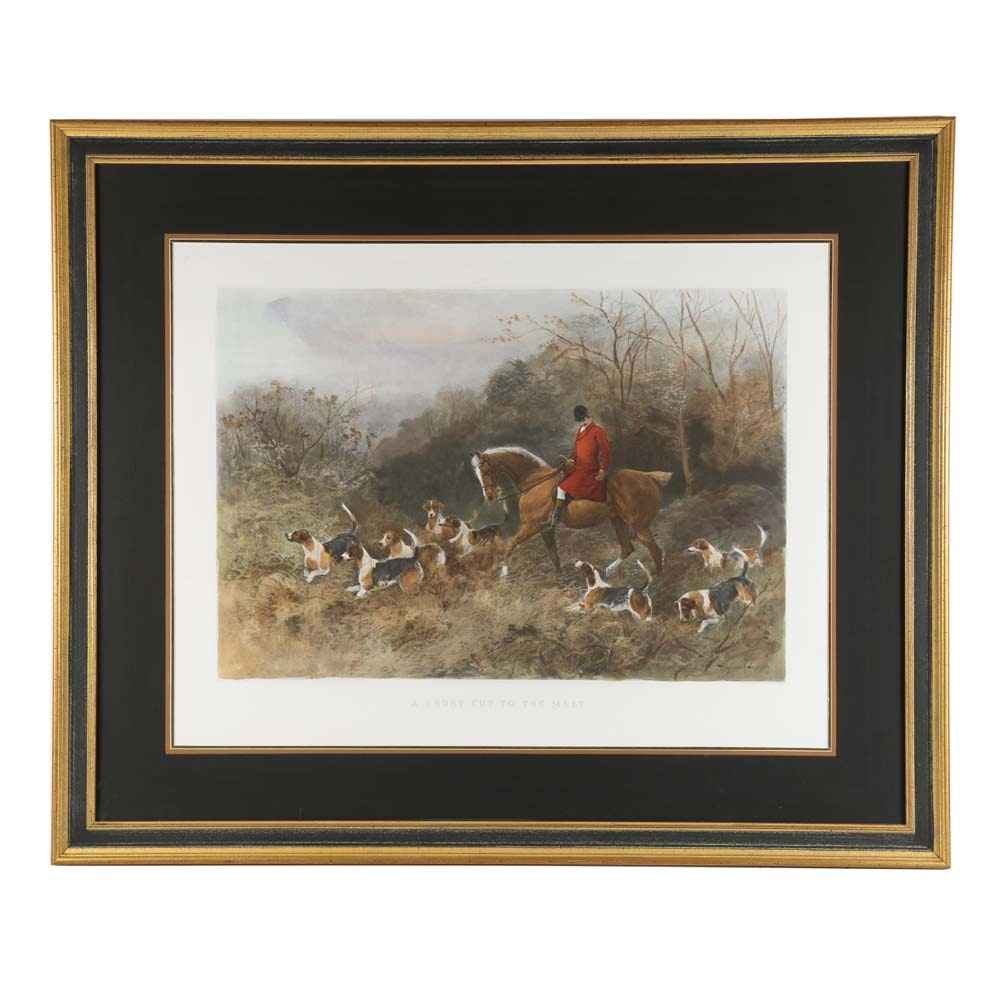 "Heywood Hardy Color Lithograph ""A Short Cut to The Meet"""