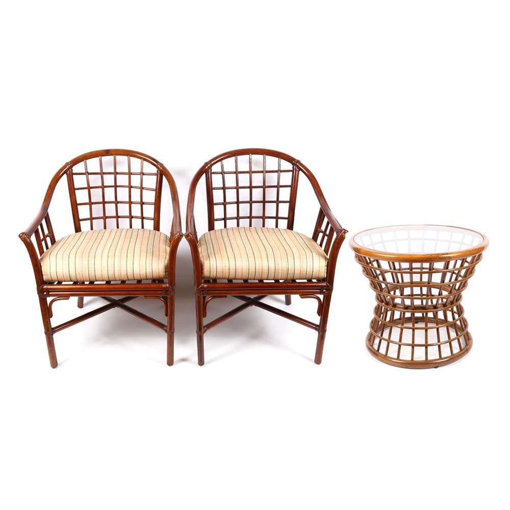 Vintage Rattan Arm Chairs and Side Table