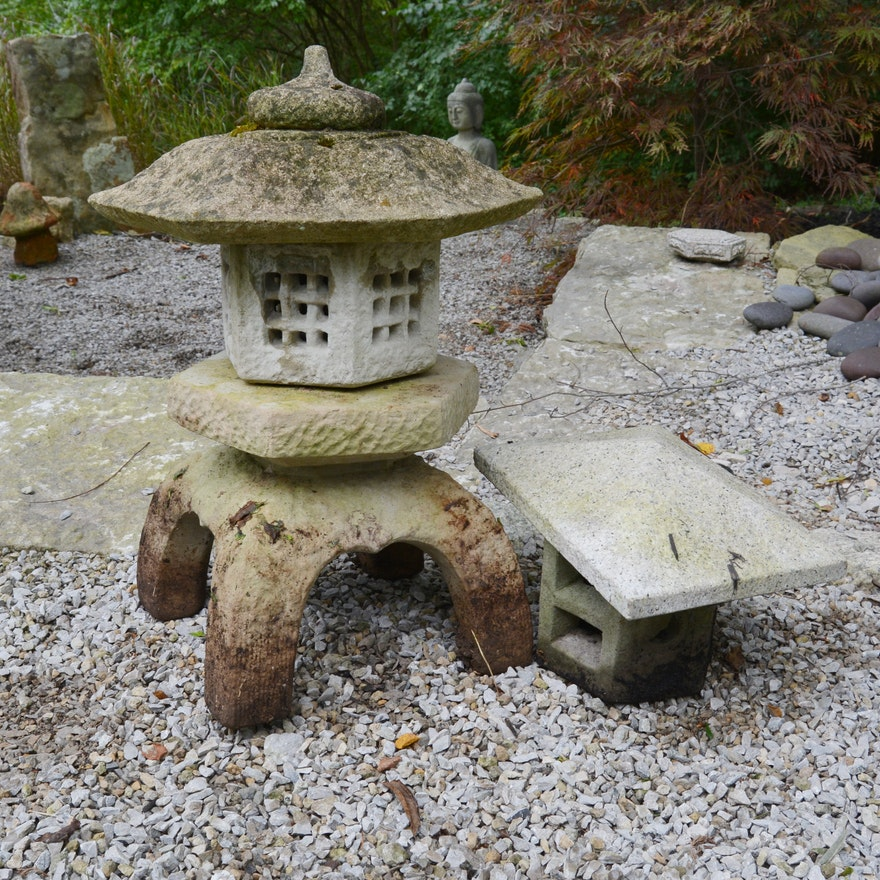 Large Japanese Inspired Concrete Pagoda Garden Lantern