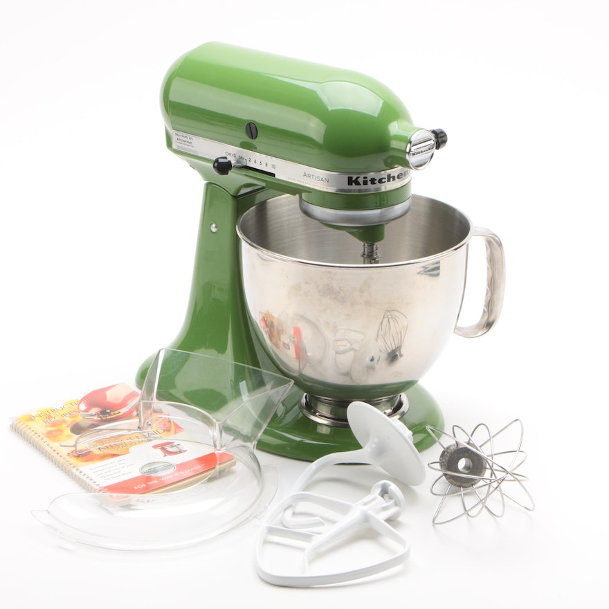 Kitchenaid Artisan Stand Mixer With Attachments And Booklet Ebth