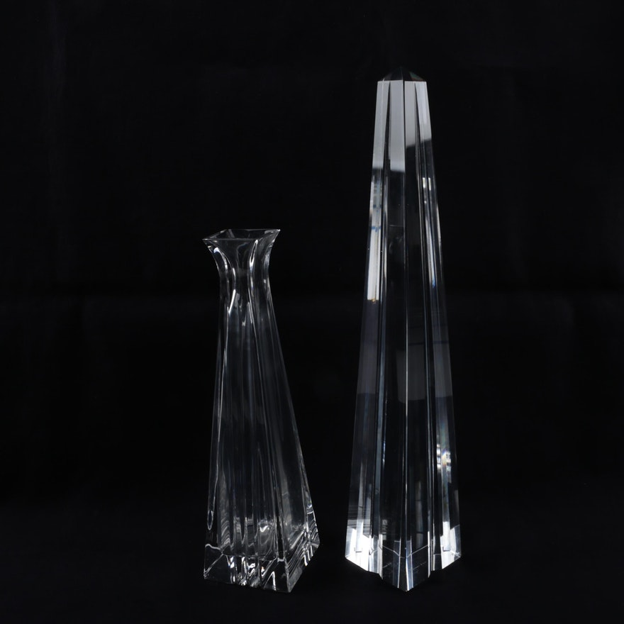 Tiffany Co Crystal Obelisk And Metropolis Bud Vase Ebth