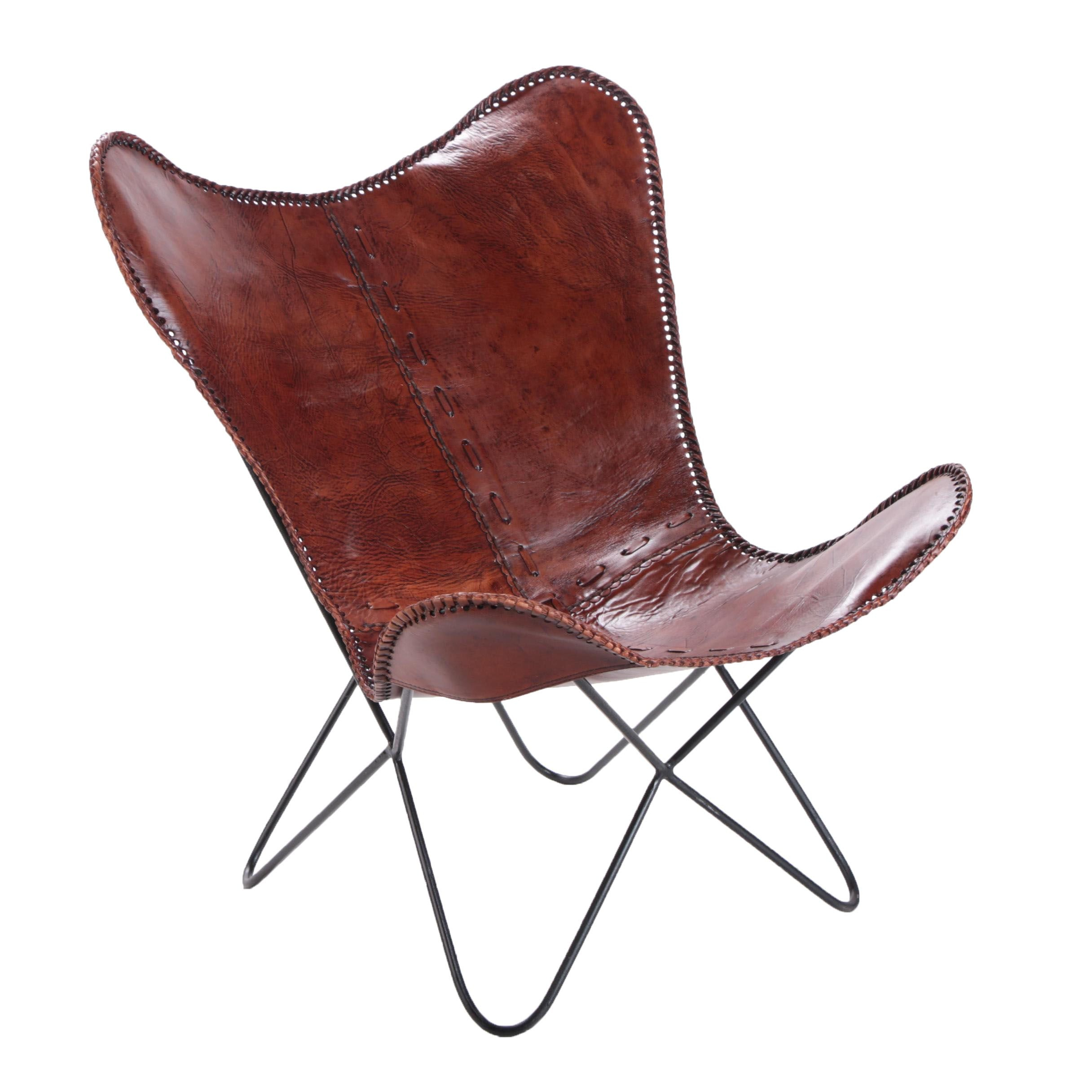 Stitched Leather Butterfly Chair ...