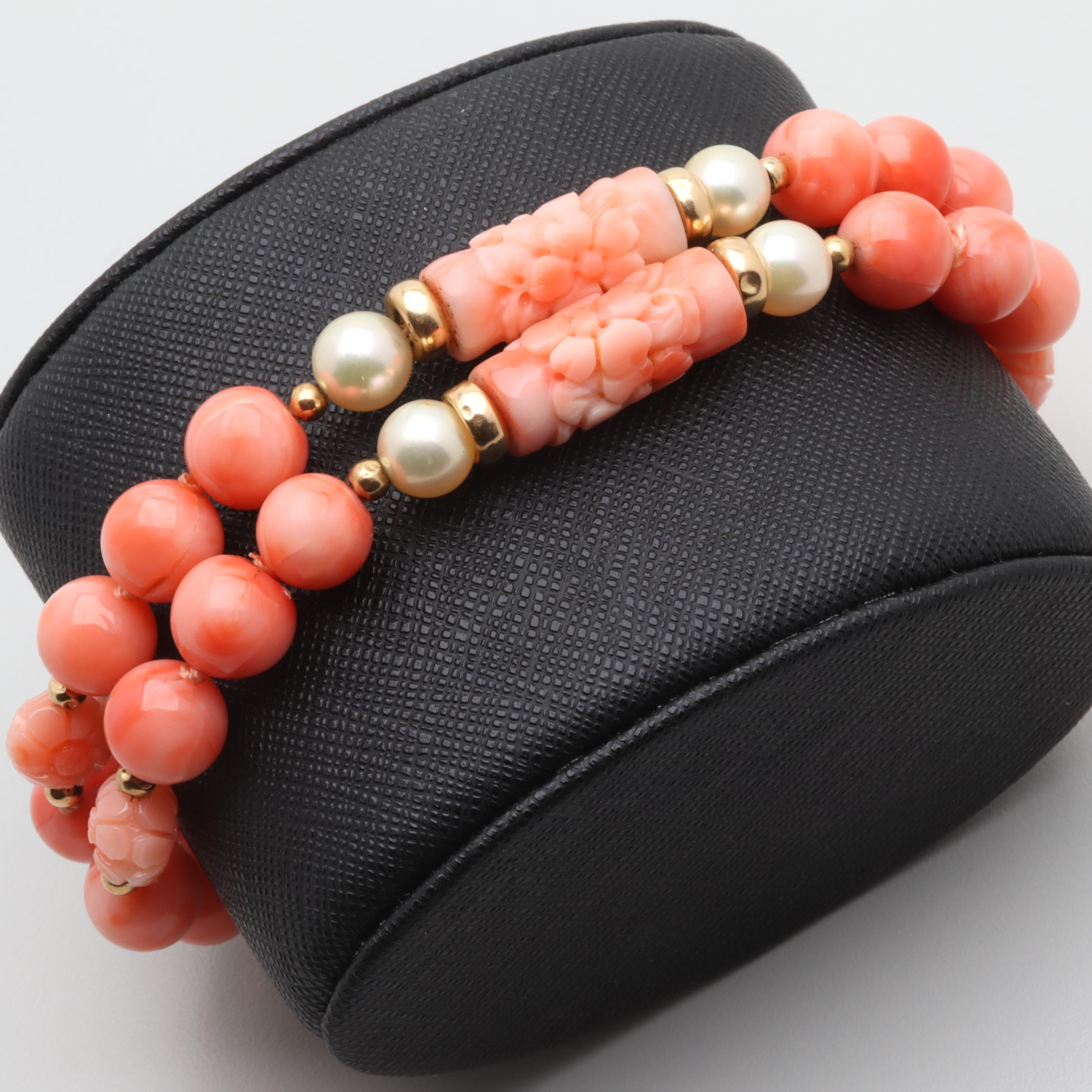 14K Yellow Gold Coral and Cultured Pearl Beaded Bracelet
