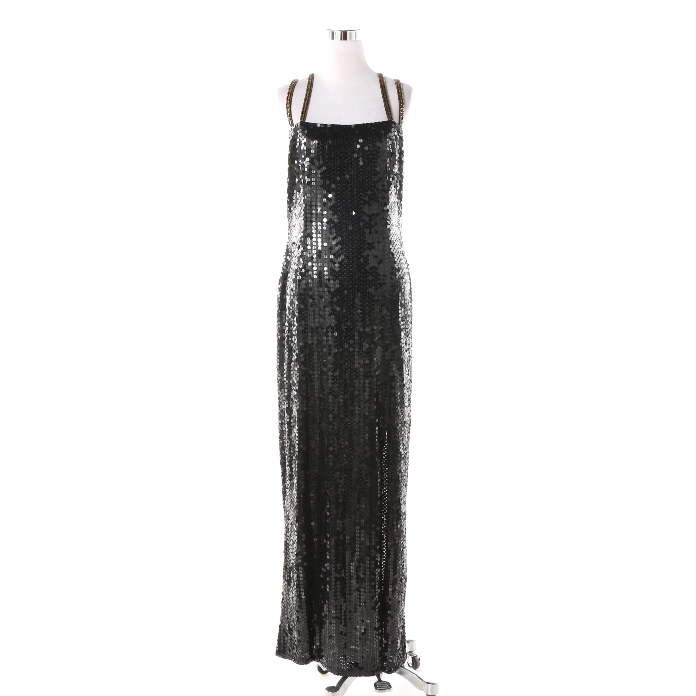 Bella Diosa Black Sequined Sleeveless Evening Gown