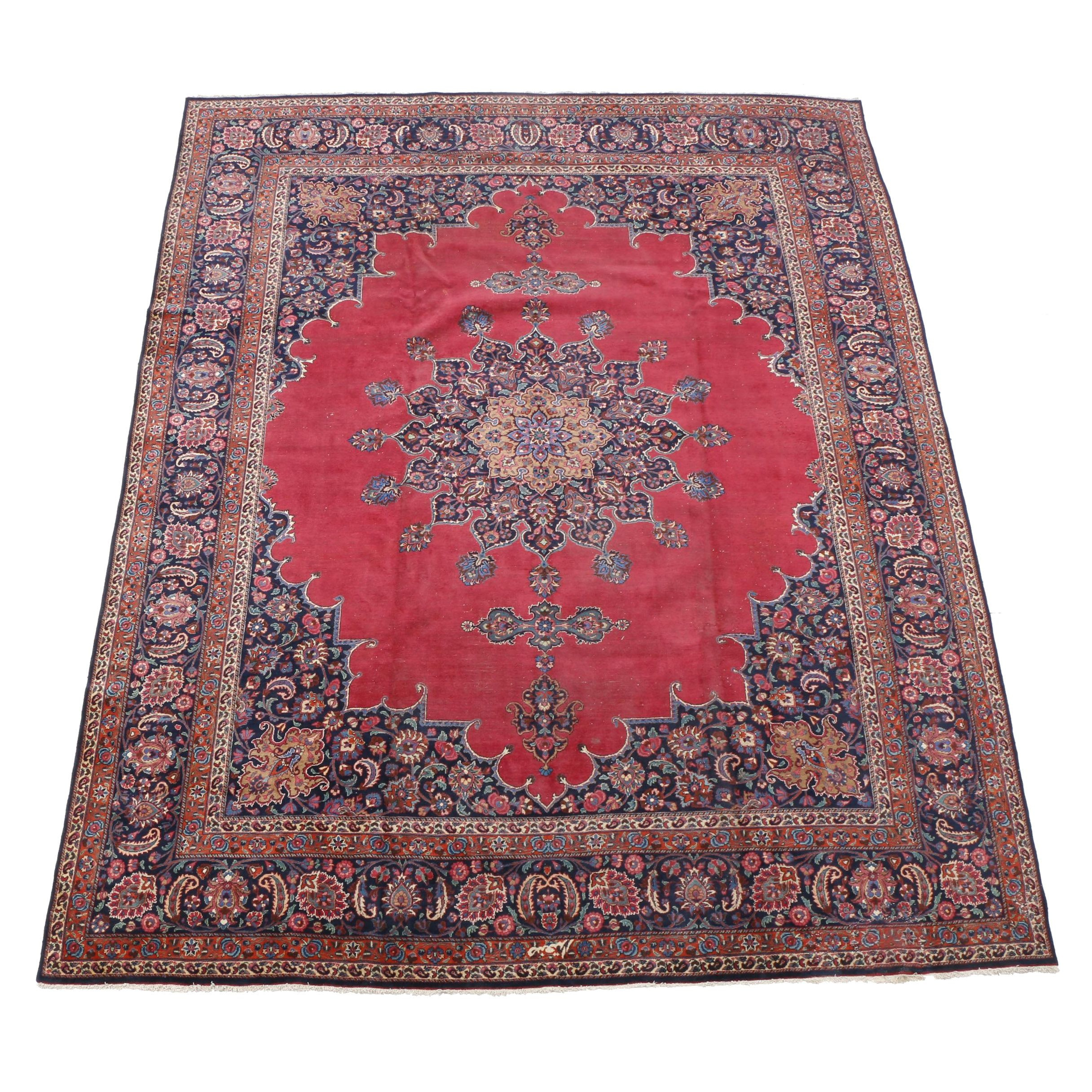 Hand-Knotted Inscribed Persian Afshari Bijar Wool Palace Sized Rug
