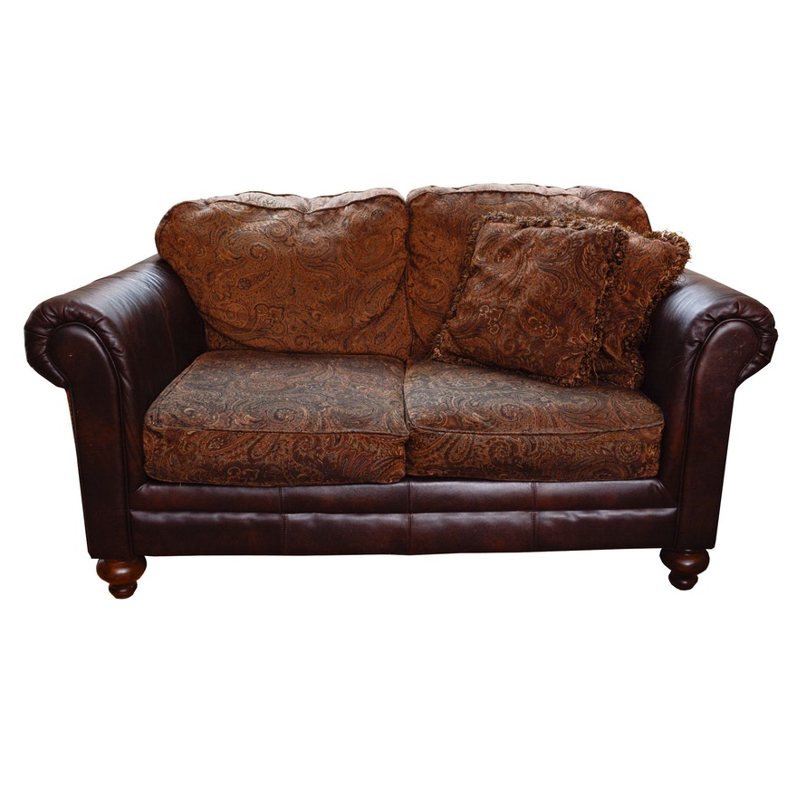Enjoyable Leather And Paisley Loveseat By Ashley Home Furniture Gmtry Best Dining Table And Chair Ideas Images Gmtryco