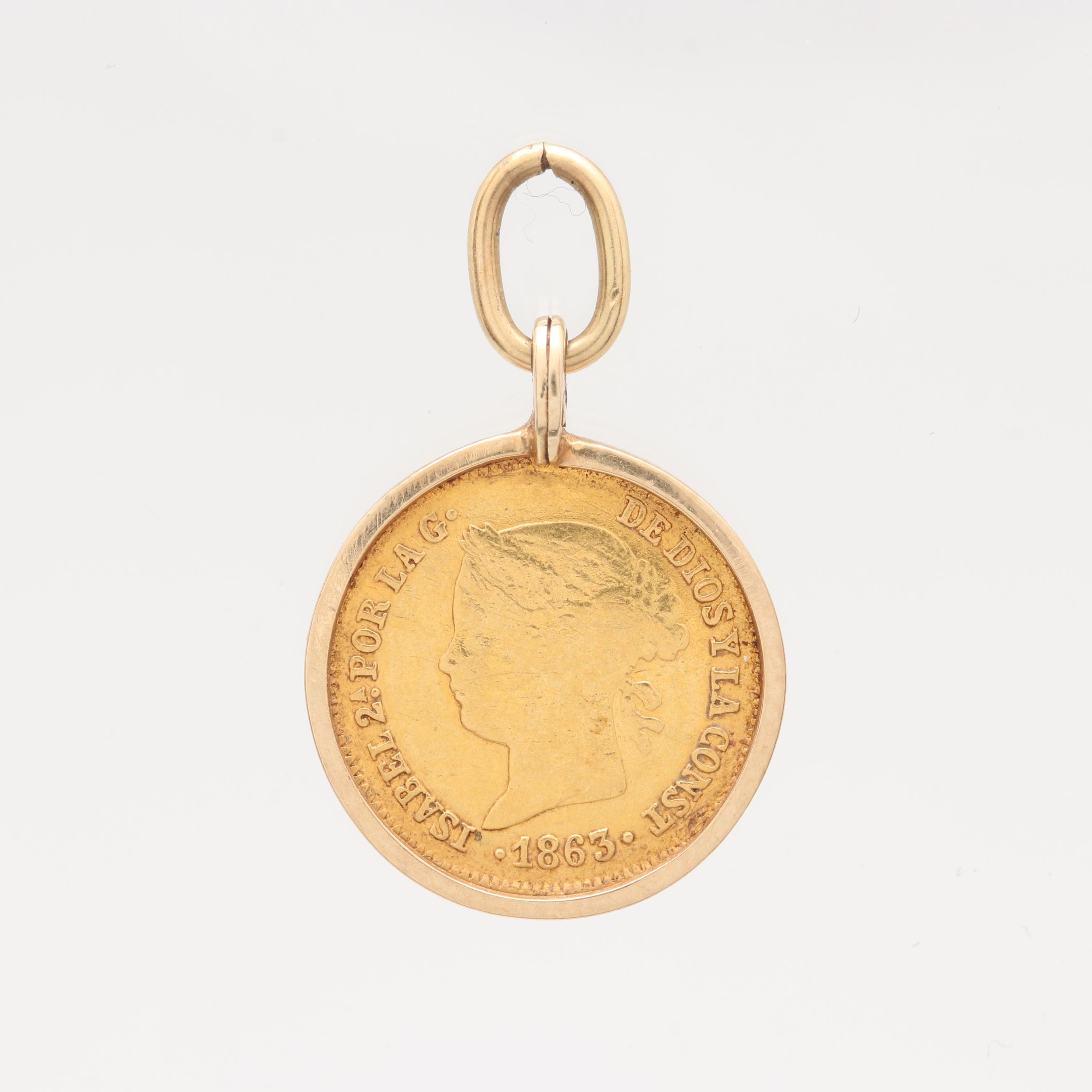 14K Yellow Gold Pendant with 1863 Philippines One Peso Gold Coin
