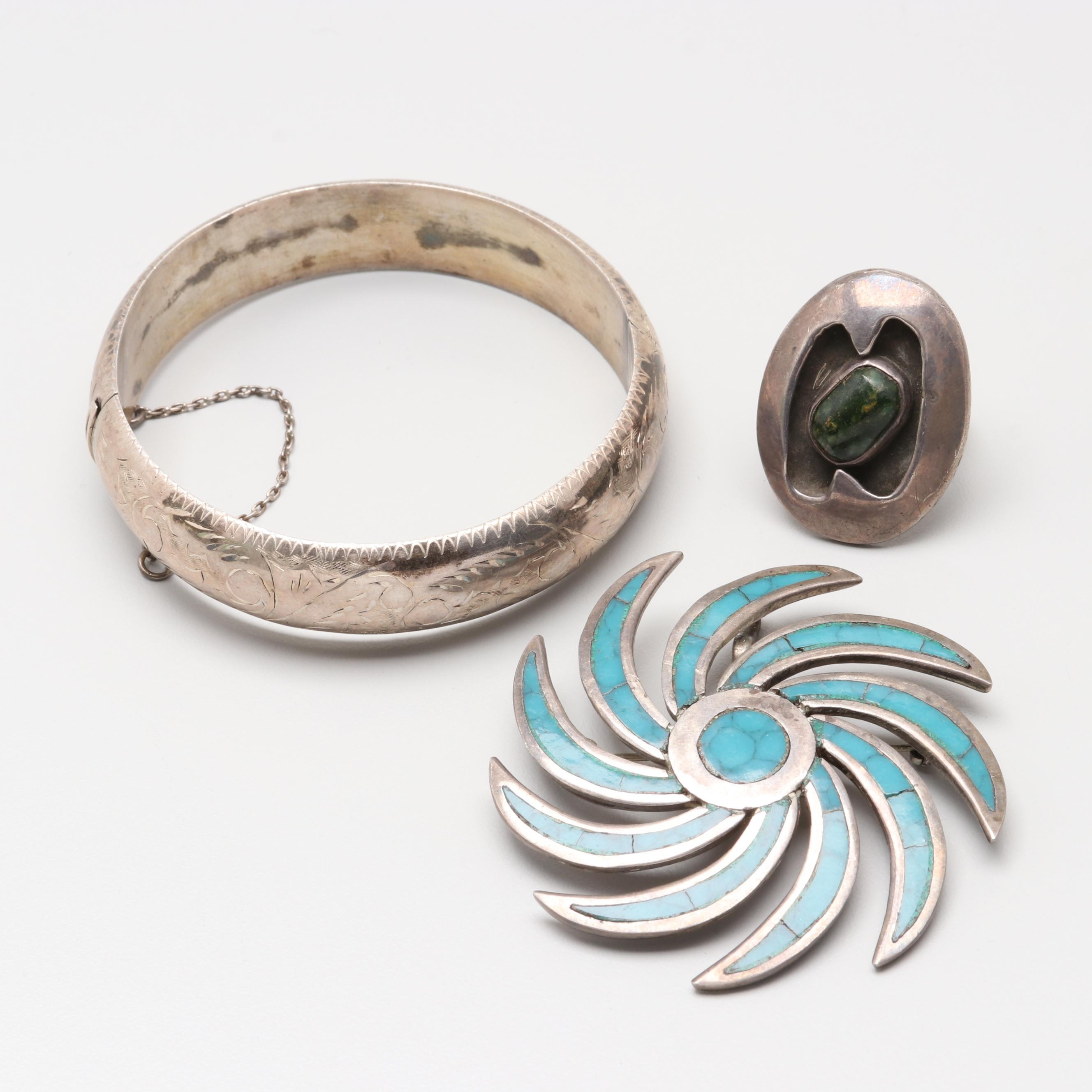 Sterling Silver Jewelry Selection Including Imitation and Green Turquoise