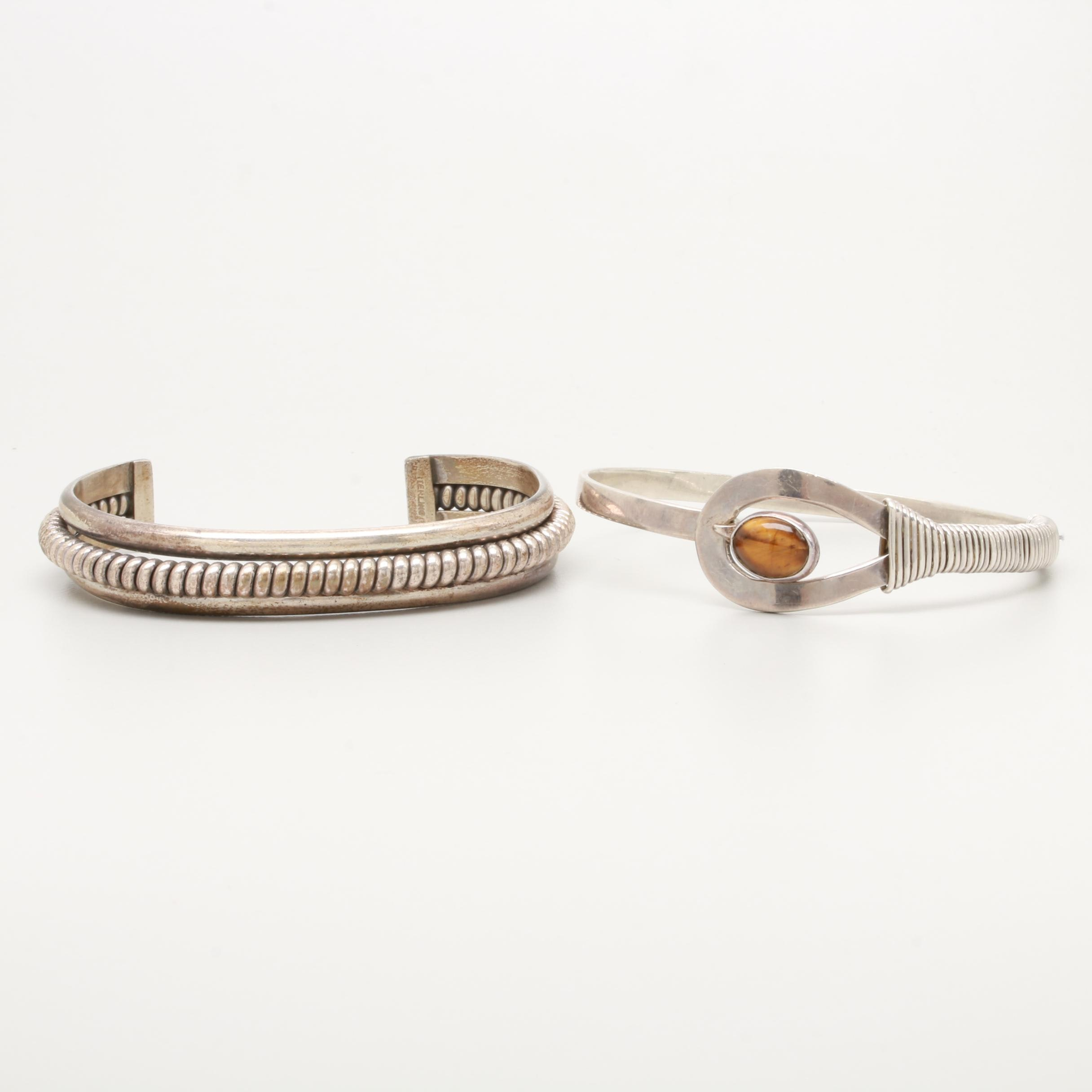 Sterling Silver Cuff and Bangle Bracelets Including Tiger's Eye