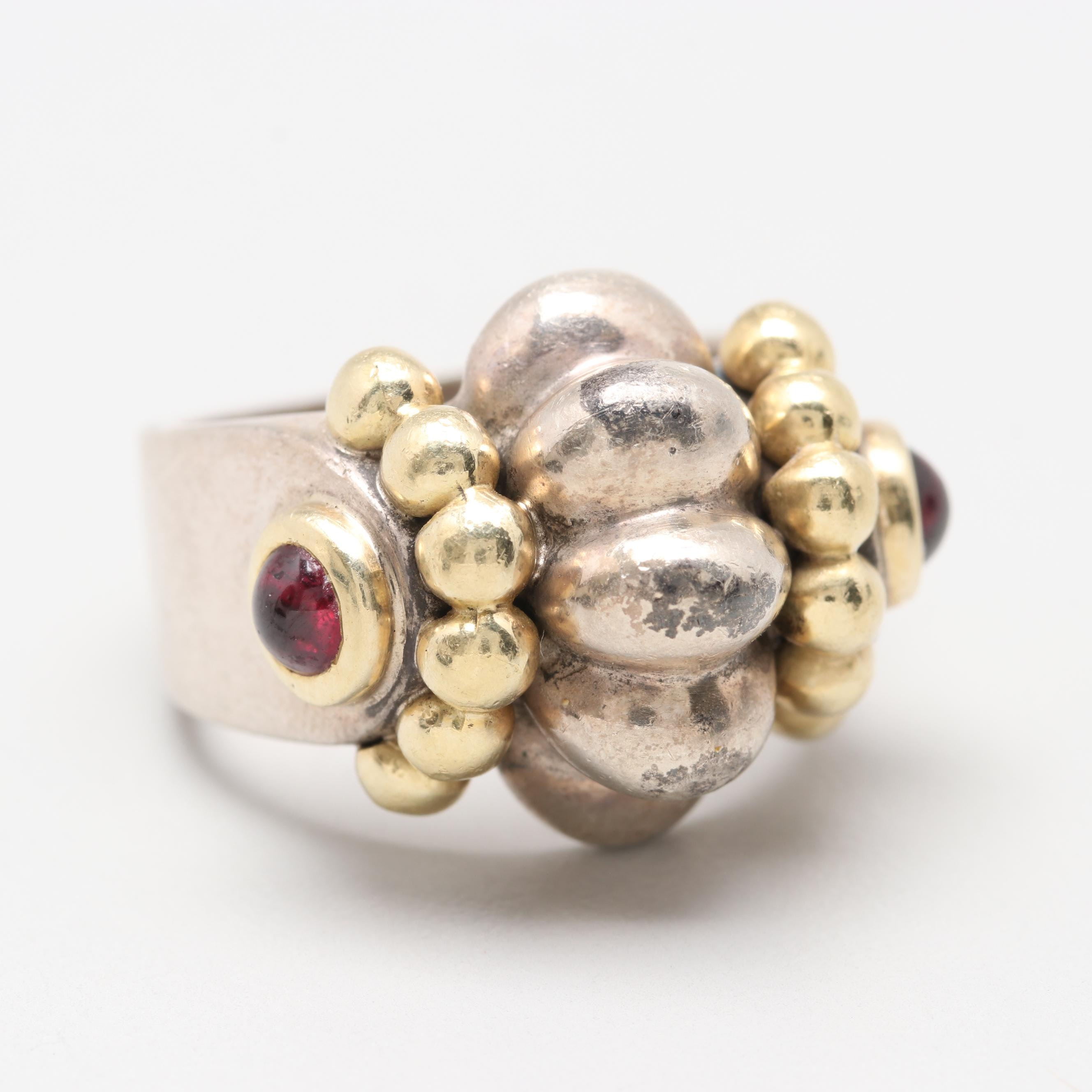 Caviar by Lagos Sterling Rhodolite Garnet Ring with 18K Yellow Gold Accents
