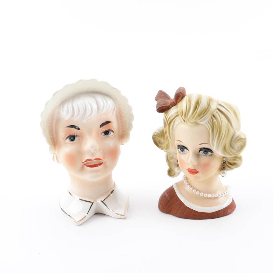 Ceramic Lady Head Vases Featuring Napcoware Ebth