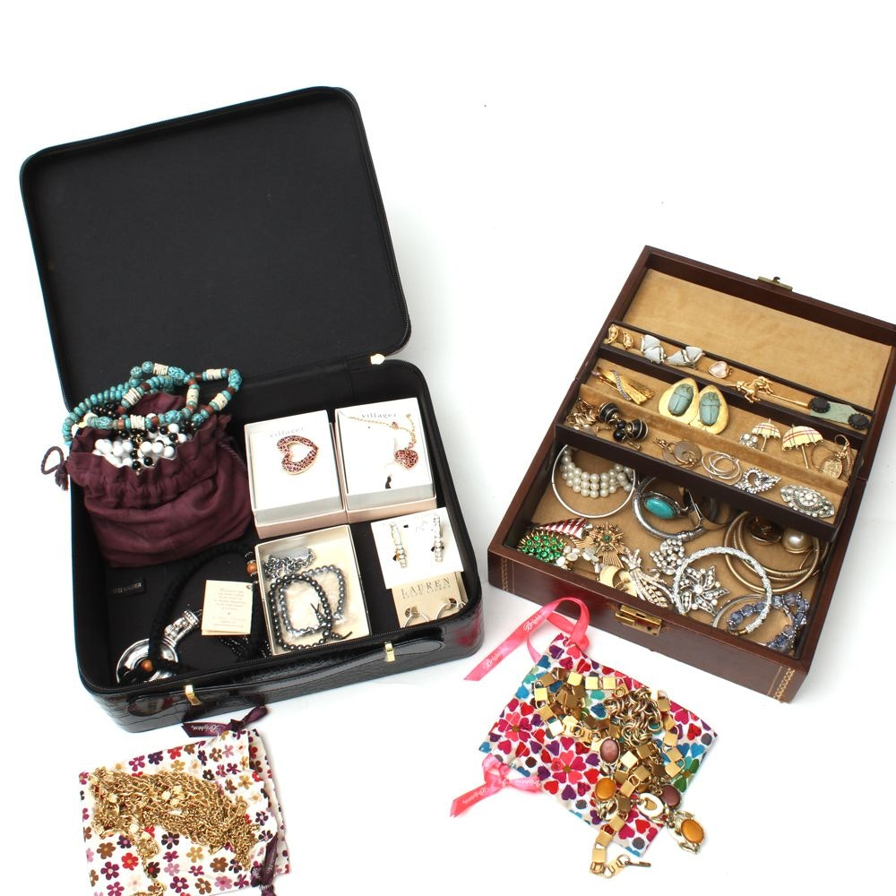 Selection of Silver Tone and Gold Tone Jewelry Including Lauren by Ralph Lauren
