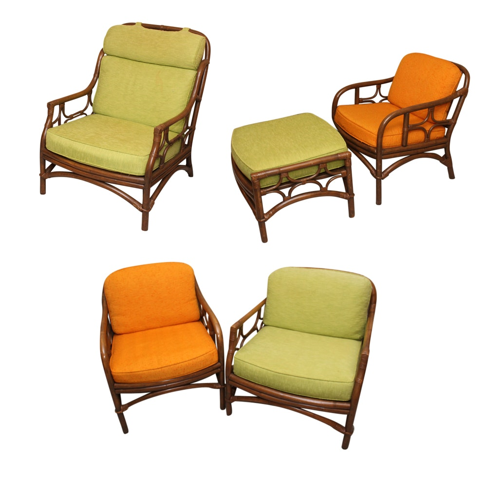 Brown Rattan Armchairs with Ottoman