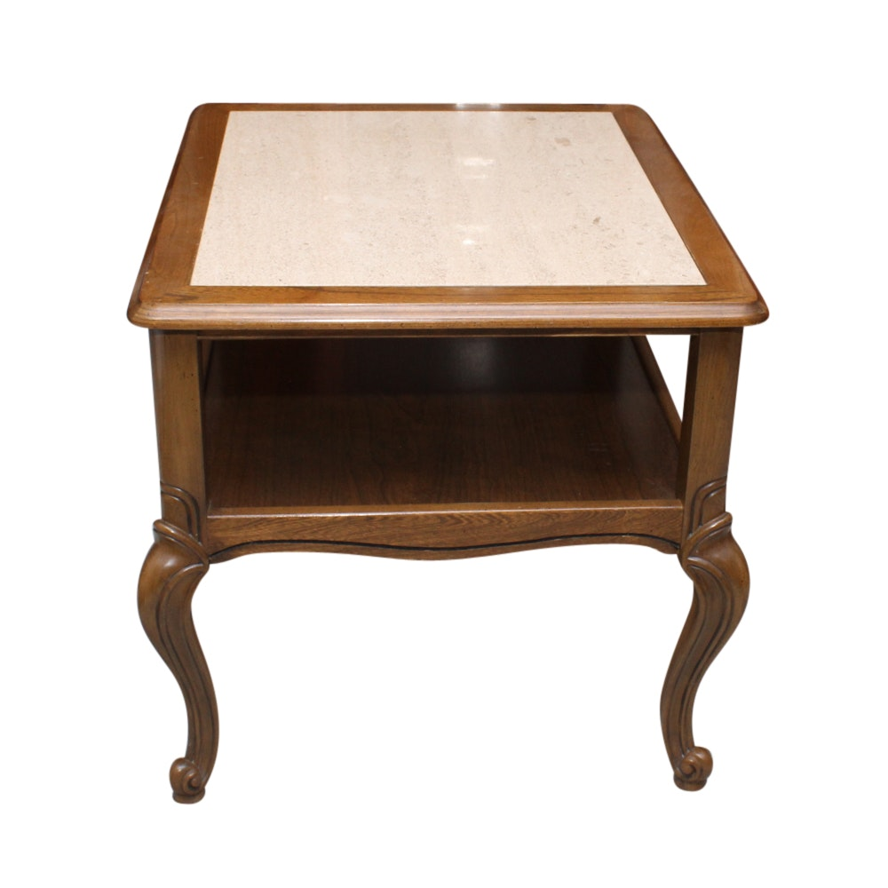 Queen Anne Style Stone Top Side Table
