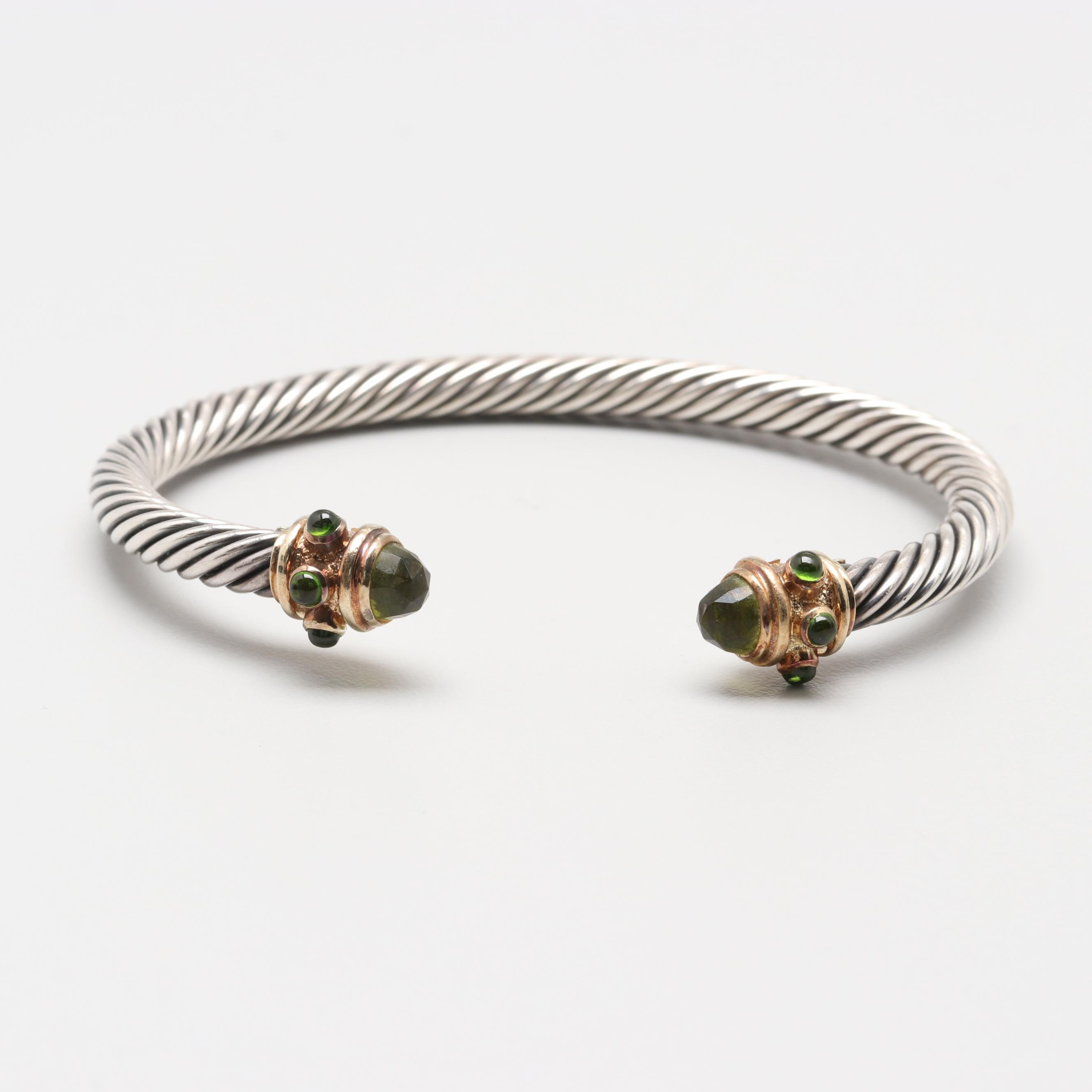 David Yurman Sterling and 14K Yellow Gold Peridot and Chrome Diopside Bracelet