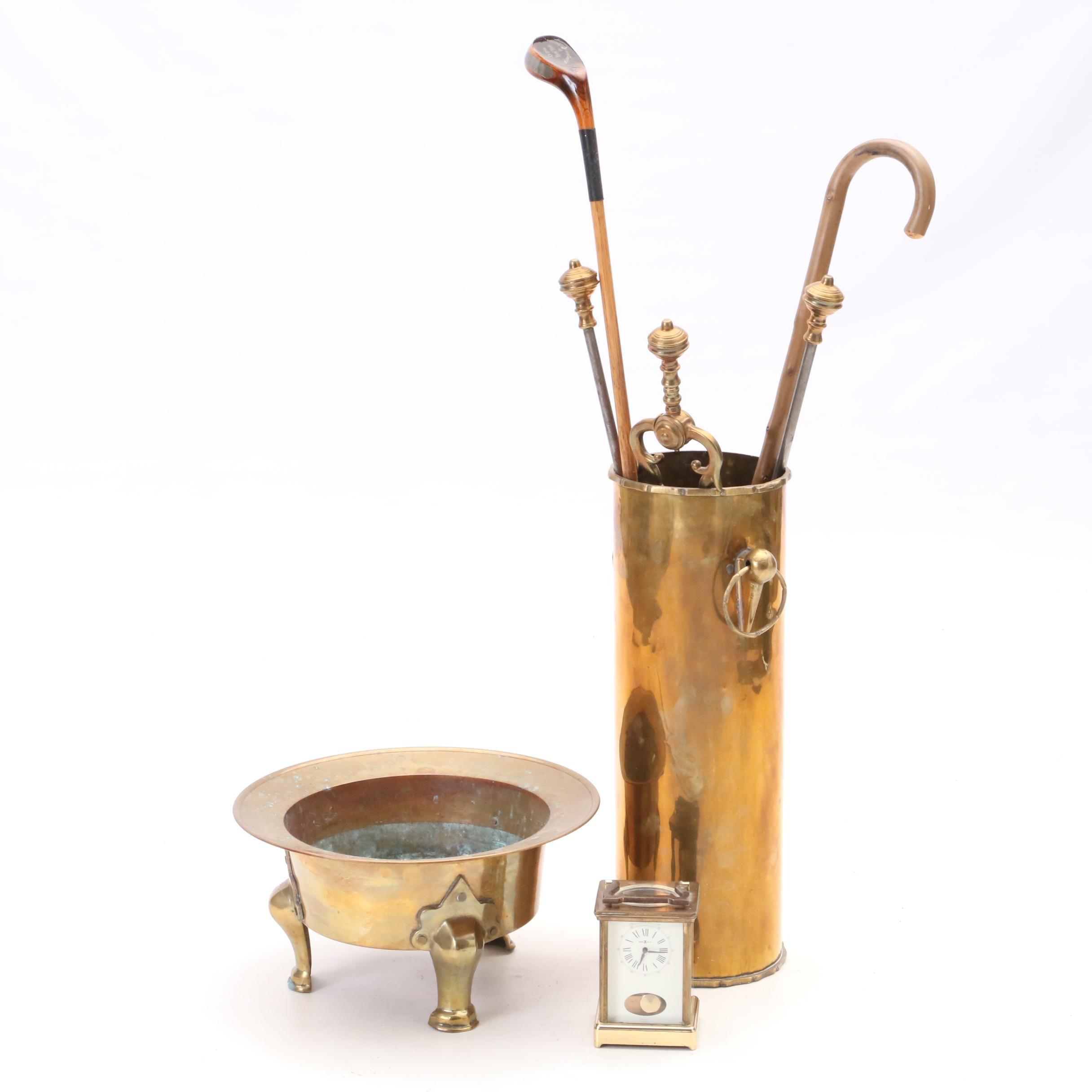Brass Clock and Decor