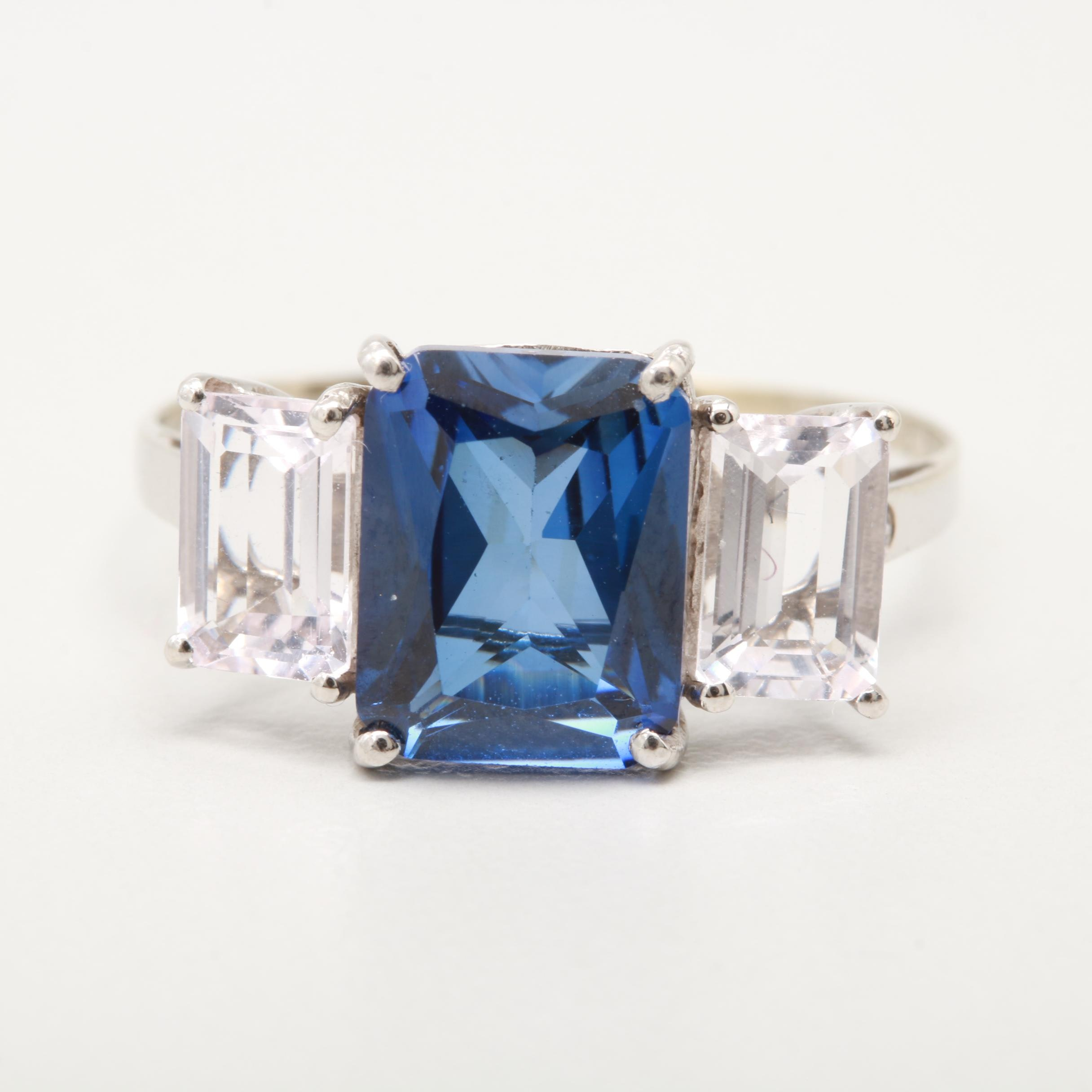 10K White Gold Sythnthetic Blue Sapphire and Cubic Zirconia Ring