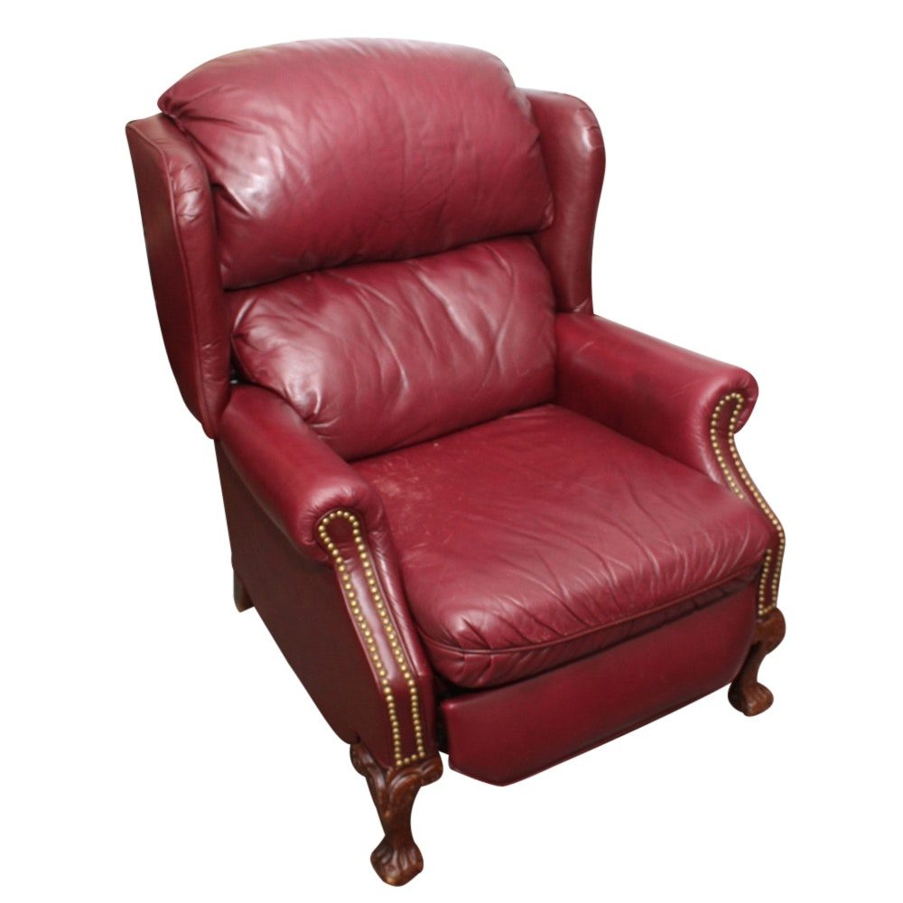 Chippendale Style Red Faux Leather Recliner