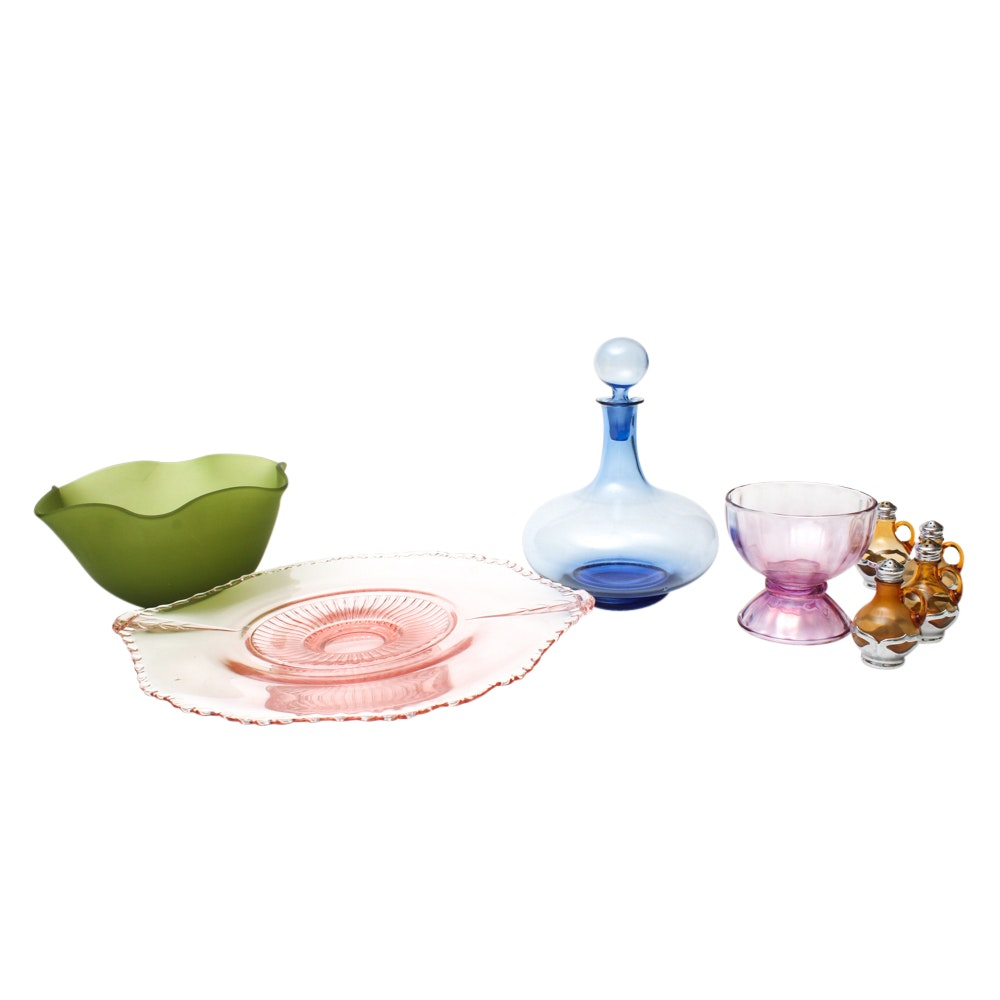 Depression Glass and Colored Glass Tableware