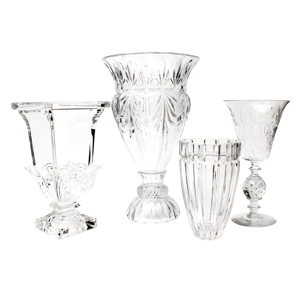 Hand-Blown and Floral Etched Glass Vase With Crystal Vases
