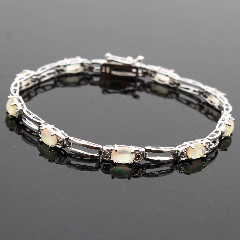 Sterling Silver Sun Opal and Diamond Bracelet