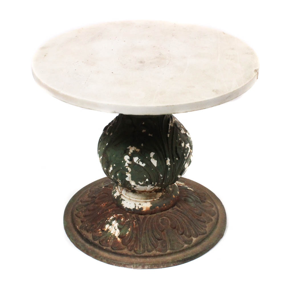 Vintage Cast Iron Marble Top Patio Accent Table
