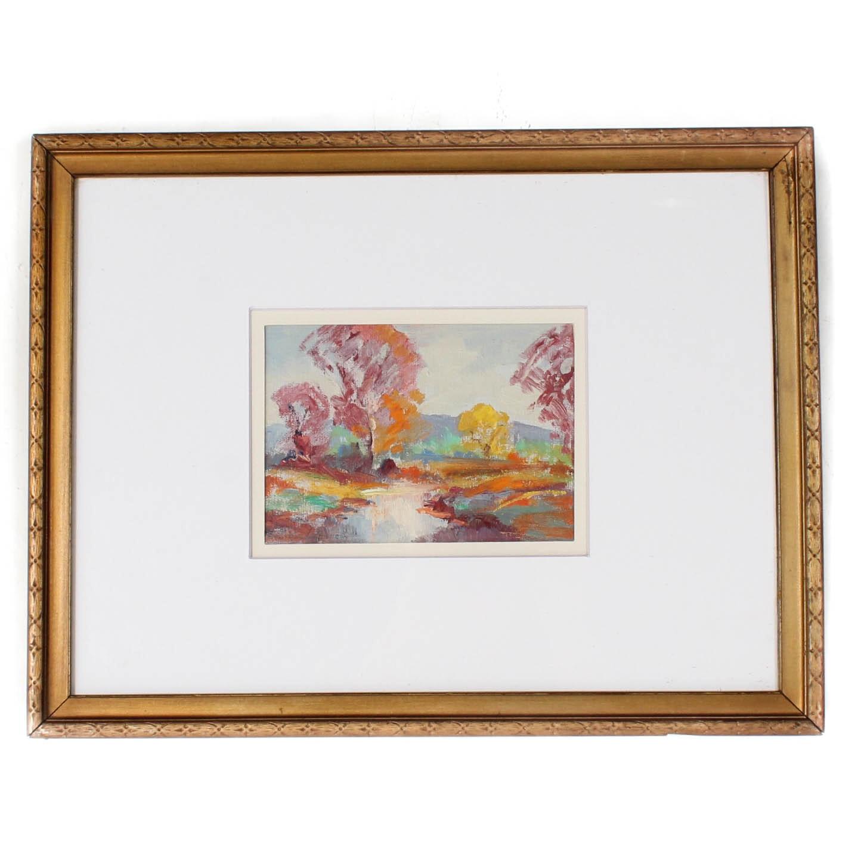 Georges LaChance Vintage Impressionist Landscape Oil Painting
