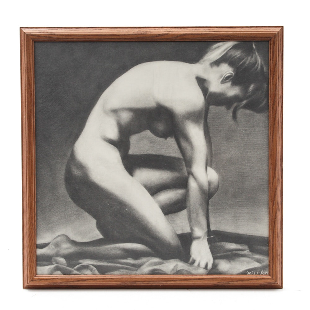 Graphite Drawing of Kneeling Female Nude