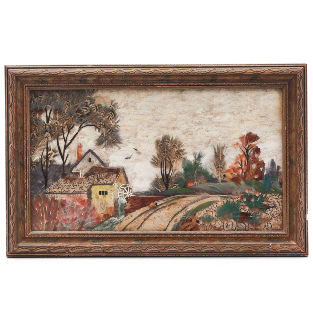 Pastoral Landscape Artwork Made From Feathers